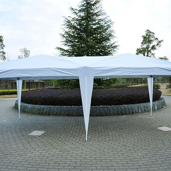 Outsunny 10x20 FT Folding Tent Gazebo Pop Up Party Wedding Tent Canopy without Walls (White) | Aosom Canada