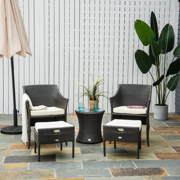 Outsunny Outdoor Indoor 5pcs Wicker Rattan Coffee Set Garden Patio Furniture Club Chair Table and Ottoman with Cushion, Dark Brown