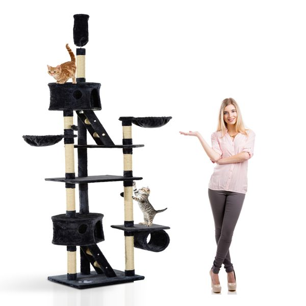 """PawHut Huge Cat Tree Ceiling High Condo Scratching Post 94""""-102"""" Pet Activity Center Multi-Level Play House Tower Dark Grey