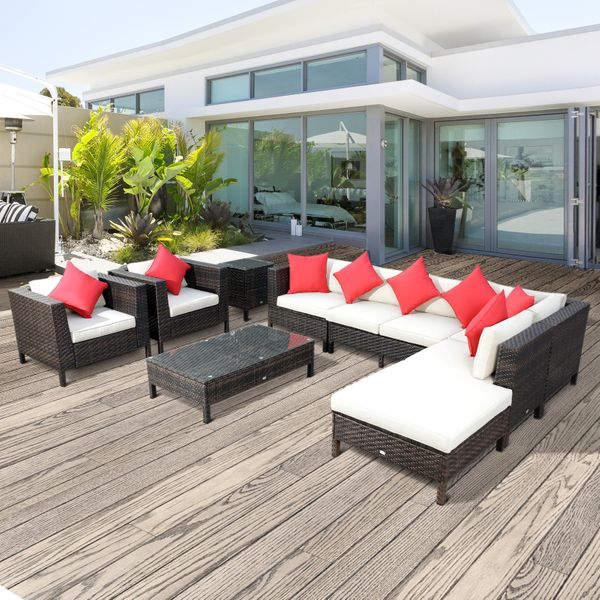 Outsunny 9pc Rattan Wicker Furniture Lounger Set w/ Cushions