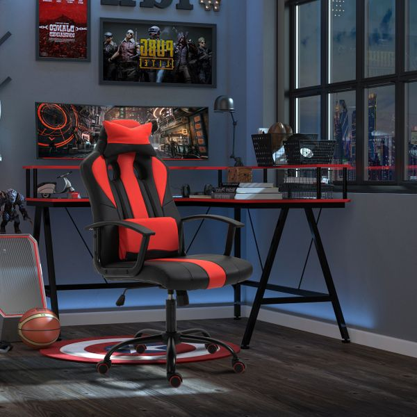 Vinsetto High Back Racing Style PU Leather Gaming Chair Lumbar Support Red | Aosom Canada