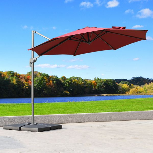 Outsunny 10ft Hanging Roma Offset Umbrella 360° Rotation w/ Cross Base Wine Red