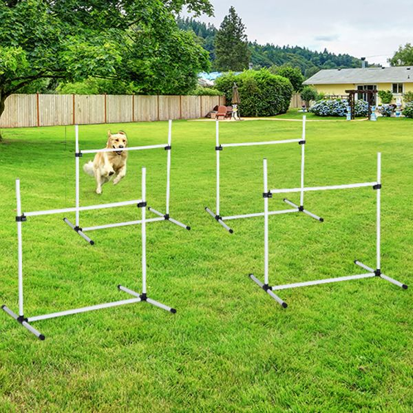 PawHut Outdoor Pet Dog Agility Sports Games Training Equipment Dogs Jump Hurdle Bar Obedience Show Activity Agility Exercise Pole White | Aosom Canada