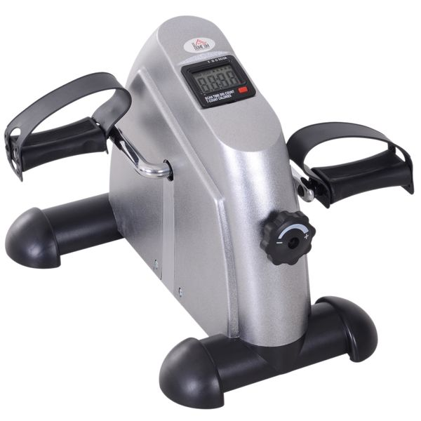Soozier Portable Mini Pedal Exercise Bike Indoor Cycle Fitness Arm Leg w/ LCD Display Silver|Aosom Canada