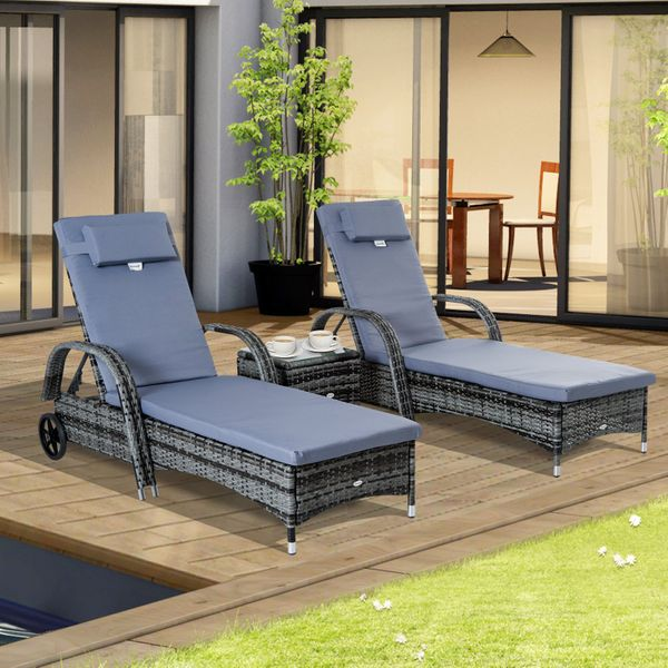Outsunny Wheeled Patio Rattan Lounge Set Adjustable Portable with Side Table Gray AOSOM.CA