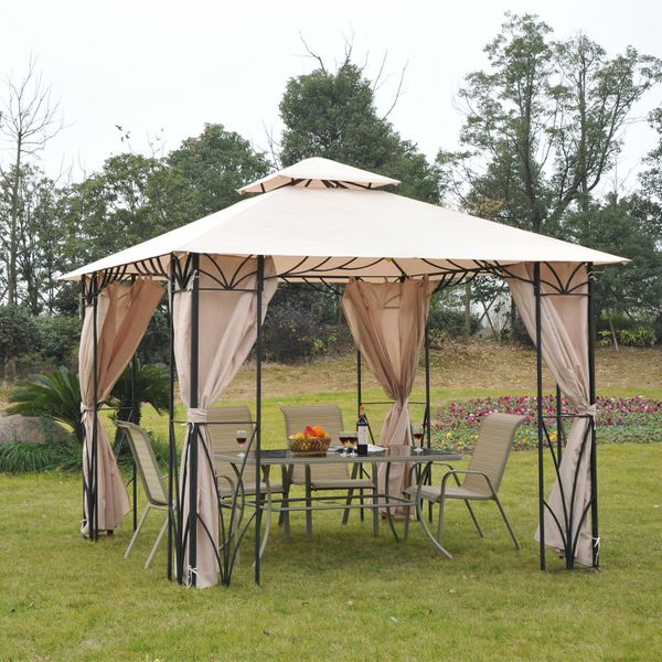 Outsunny 10'x10' Gazebo Canopy Garden Shade Outdoor Waterproof Patio Awning Proof with Metal Frame and Curtains|Aosom.ca
