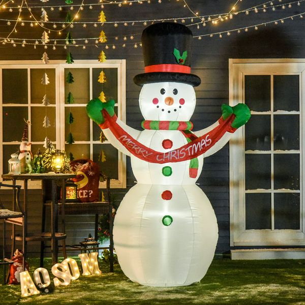 HOMCOM 8ft Tall Giant Outdoor Indoor Inflatable Snowman Christmas Decoration for Lawn Yard with Hat Scarf LED Lights Carrying Merry Christmas Banner Red Green and White   Aosom Canada