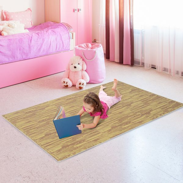 HOMCOM 24pcs Exercise Floor Mats Foam Floor Tiles Soft EVA Interlocking Mats 96 Square Feet Exercise Workout Kid Play Mat Waterproof Light Wood Grain|Aosom Canada
