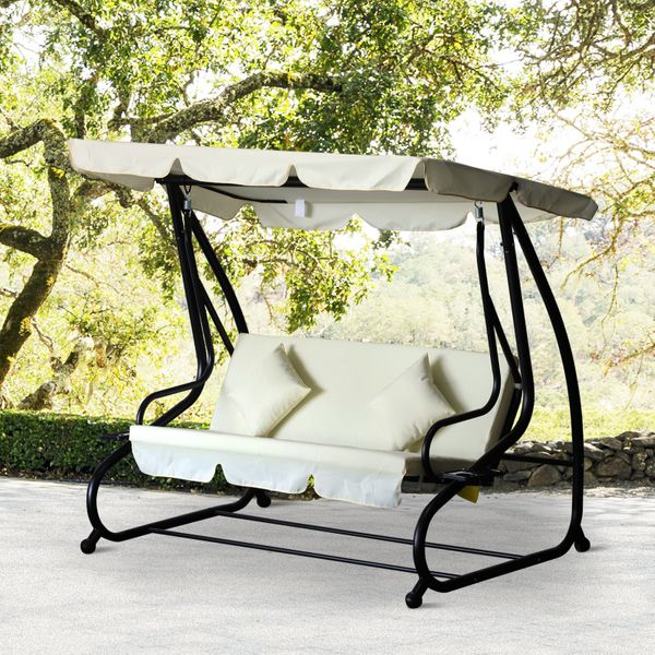 Outsunny 3 Seater Patio Swing Chair Convertible Cushioned Bed Outdoor Porch with Canopy and Pillow Outsuny|AOSOM.CA