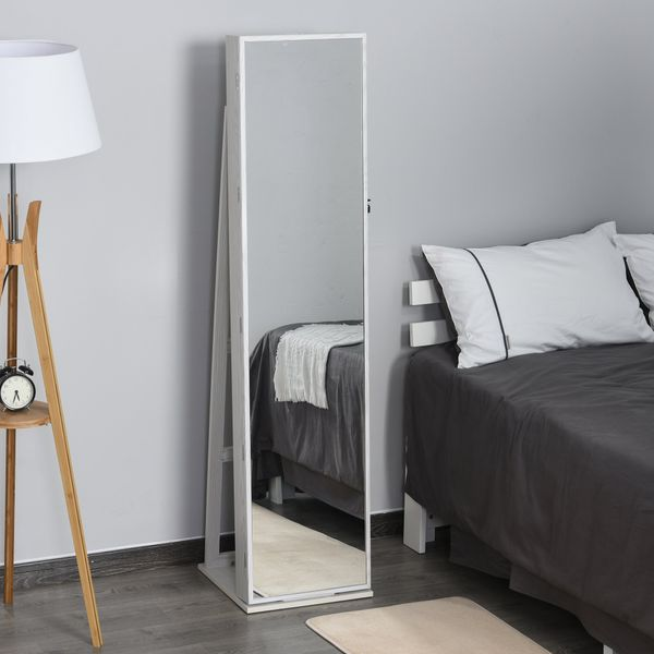 HOMCOM Lockable Jewelry Armoire Freestanding Storage Cabinet with Full-Length Makeup Mirror and LED Lights Bedroom | Aosom Canada