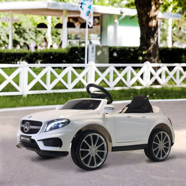 Qaba 6V Kids Licensed Mercedes Benz Ride On Car Battery Powered High/Low Speed Headlight Music White|AOSOM.CA
