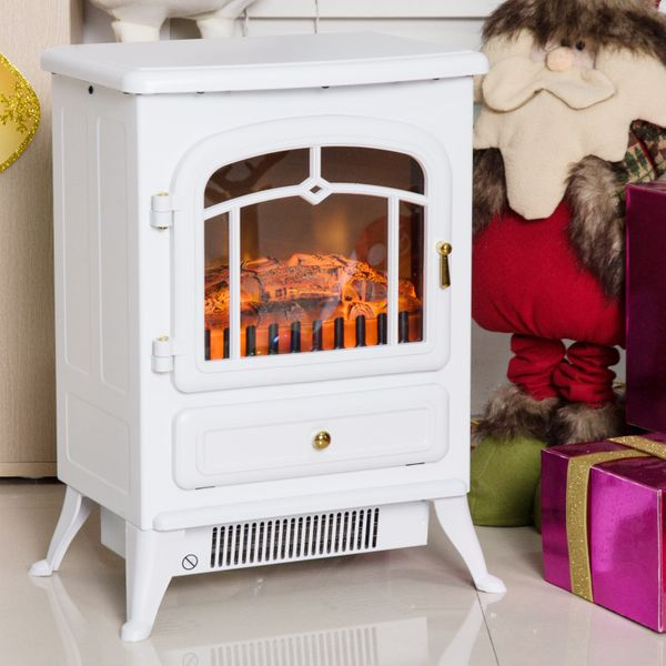 "HOMCOM 16"" Free Standing Electric Fireplace Portable Adjustable Stove with Heater Wood Burning Flame 750/1500W White