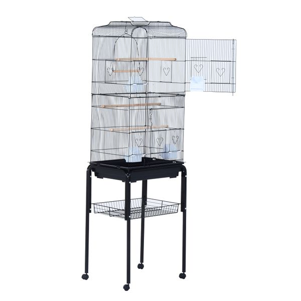 """PawHut 63"""" Rolling Bird Cage Macaw Cockatoo House Parrot Play Top Finch Pet Supply with Wheels Black 