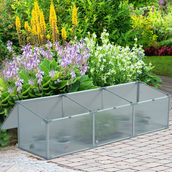 """Outsunny 71"""" Aluminum Vented Cold Frame Greenhouse Easy Access Protector Garden Raised Plant Bed with Open Roof 