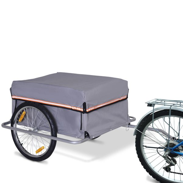 PawHut Cargo Bike Transport Trailer with Reflectors and Removable Cover|Aosom Canada