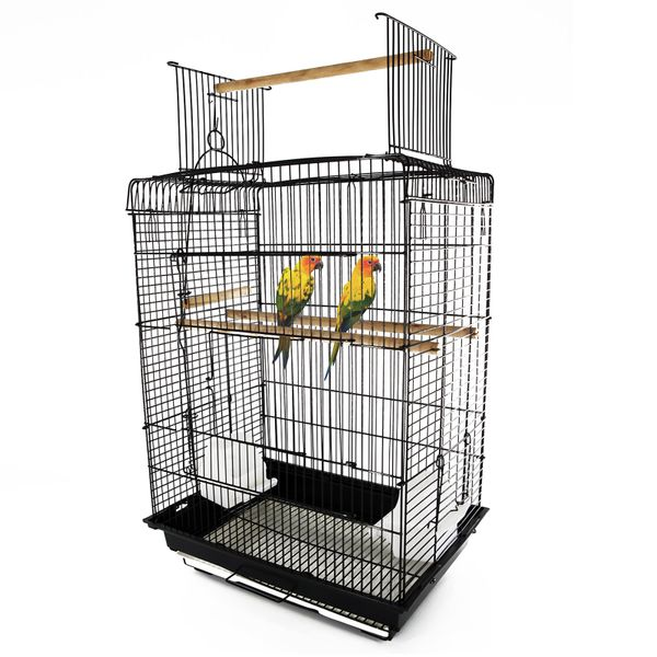 "PawHut 22"" Bird Cage Flight Parrot House Cockatiels Playpen with Open Play Top and Feeding Bowl Perch Pet Furniture Black 