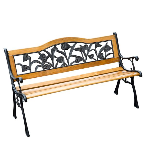 "Outsunny Garden Bench Chair Seat Long Patio Furniture 50"" Outdoor Iron Wood Teak Loveseat With FSC Certificate 