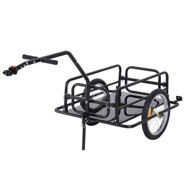 Aosom Folding Bicycle Cargo Trailer Utility Bike Cart Carrier Garden Patio Tool with Hitch Black|Aosom Canada