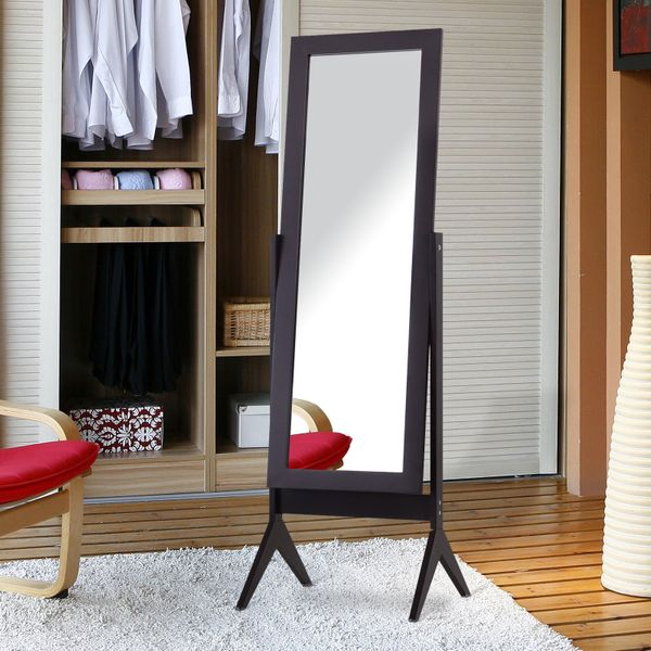 HOMCOM Free-standing Full-length Jewelry Dressing Mirror Angle Adjustable Living Room Bedroom  Dark Brown|AOSOM.CA
