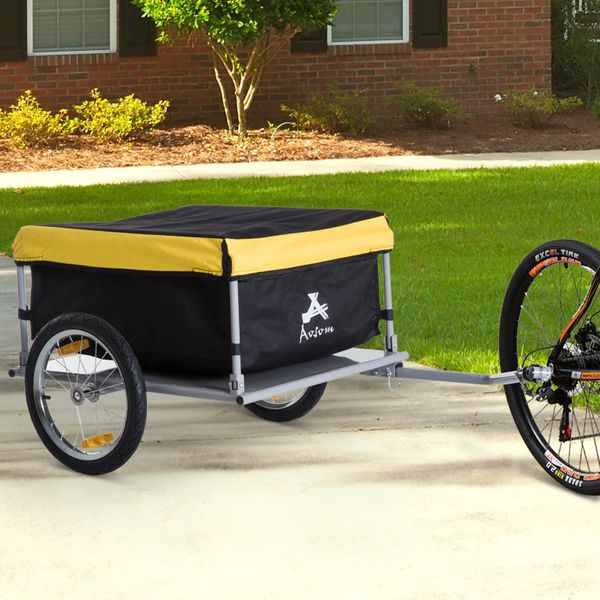 Aosom Bicycle Wagon Trailer Bike Cargo Trailer Garden Outdoor Yard Utility Large Cart Carrier Tool Yellow w/ Rain Cover|Aosom Canada