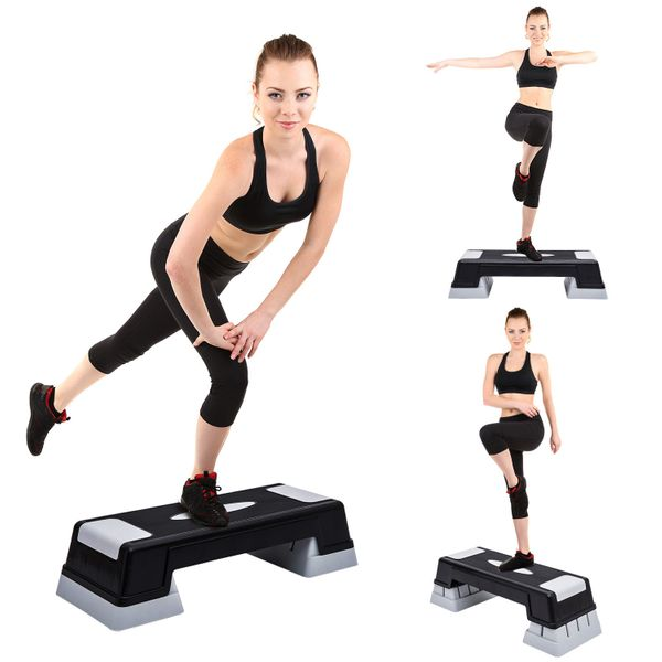 """Soozier Aerobic Stepper 3-Level Riser Fitness Cardio Workout Steps 4.7"""" x 6.7"""" x 8.7"""" Adjustable Exercise Trainer   Aosom Canada"""