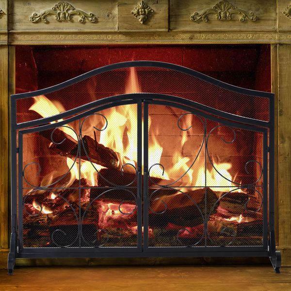 HOMCOM Fireplace Mesh Screen with Hinged Magnetic Doors and Standing Decorative Scrollwork|AOSOM.CA
