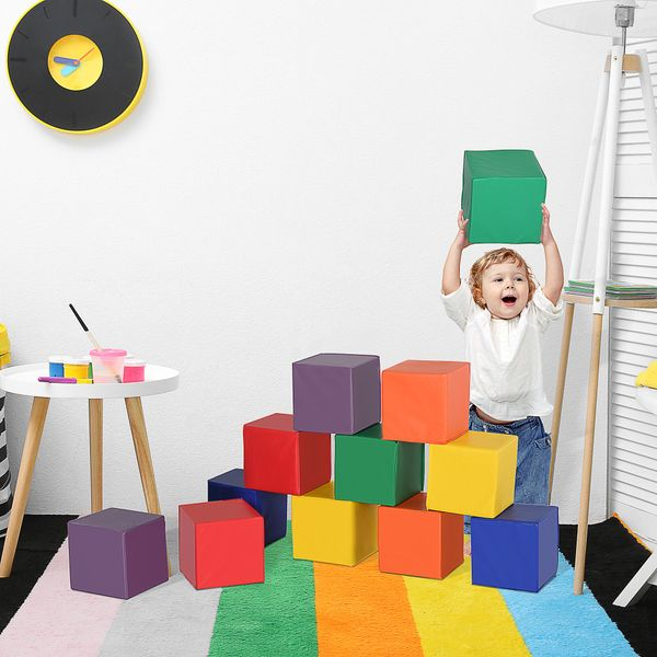 Soozier 12 Piece Soft Play Blocks Soft Foam Toy Building and Stacking Blocks Non-Toxic Compliant Learning Toys for Toddler Baby Kids Preschool Block | Aosom Canada