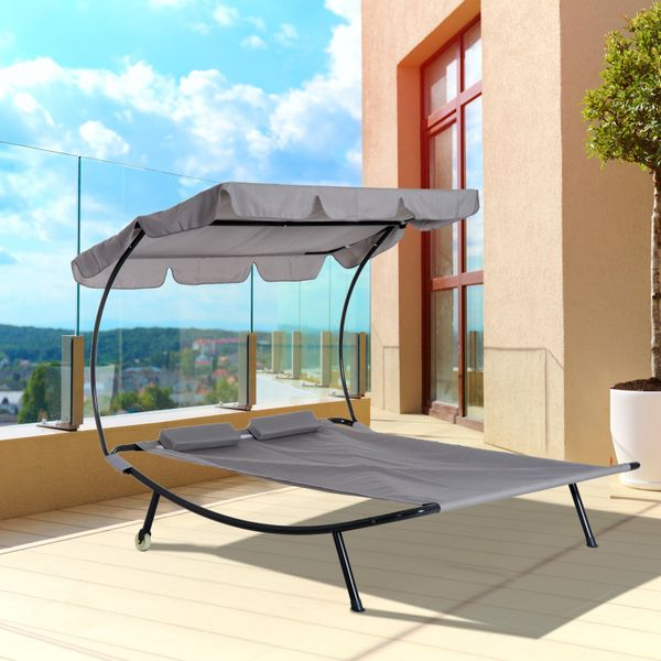 Outsunny Double Chaise Outdoor Lounge Bed with Canopy and Headrest Pillow  Portable Patio Sunbed Hammock Lounger  Grey Sun Chair | Aosom Canada