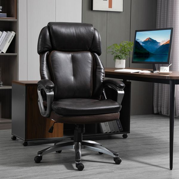 Vinsetto High Back Executive Chair Computer Ergonomic Task Seat PU Leather Swivel Chair for Office with Padded Armrests, Adjustable Height, Brown w/ Height | Aosom Canada