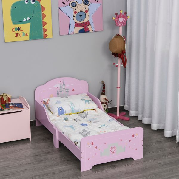 HOMCOM Kids Wooden Bed with Castle Pattern Safety Side Rails Easy to Clean Perfect Gift for Toddlers Girls Age 3 to 6 Years Old Pink w/ | Aosom Canada