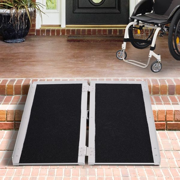 HOMCOM 3' Aluminum Double Folded Wheelchair Ramp Scooter Mobility W/ Carry Handle Lightweight Portable | Aosom Canada