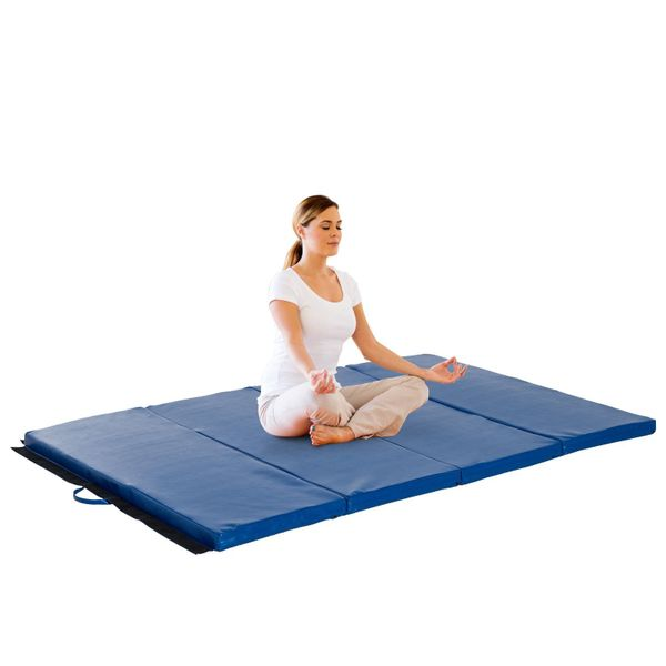 Soozier 4ftx6ftx2inch PU Leather Gymnastics Tumbling Mat Arts Folding Yoga Exercise Pad 4 Panel Blue|Aosom.ca
