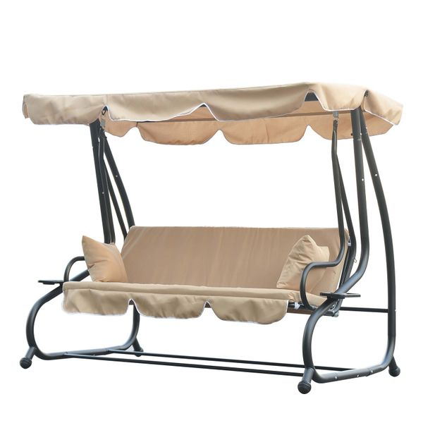 Outsunny Heavy-duty Metal 3 Seater Outdoor Swing Chair Garden Hammock Bed with Canopy and 2 Pillows Beige | Aosom Canada