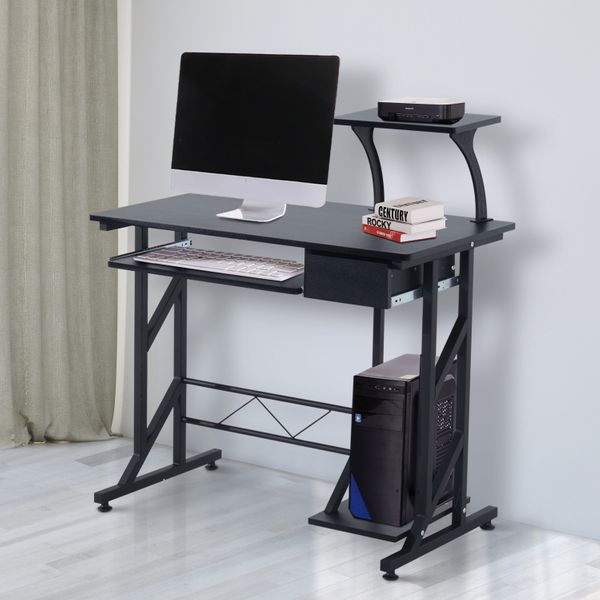 HOMCOM Computer Desk Writing Workstation Portable Space Saving Wood Laptop Table Home Office with Pullout Keyboard Tray Black | Aosom Canada