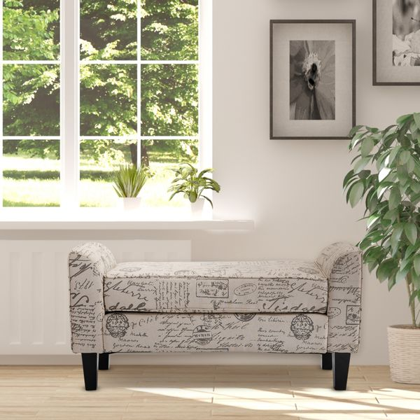HomCom Armed Scripted Ottoman Bench Seat w/ Cushions Upholstered Rolled Arm Lounge Loveseat Living Room Hall Bedroom Home Furniture Cream | Aosom Canada