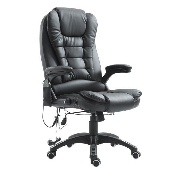 HomCom Luxury Heated Massage Office Chair - Black|Aosom Canada