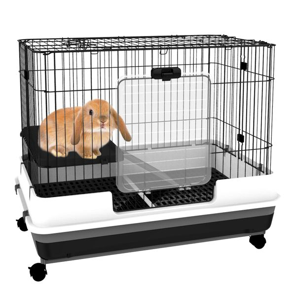 PawHut Rabbit Cage Pull Out Tray with Wheels|AOSOM.CA