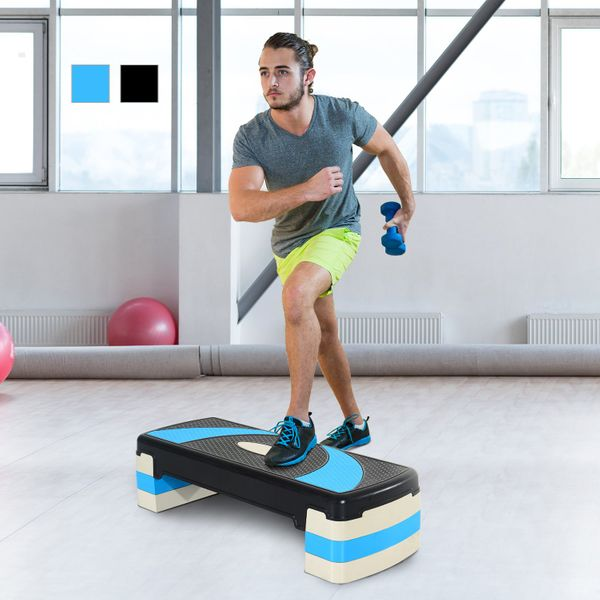 Soozier Adjustable Aerobic Exercise Step Home Gym Trainer Workout Fitness Yoga Risers for Cardio Health 4ᄀᄆ- 6ᄀᄆ- 8ᄀᄆ Blue | Aosom Canada