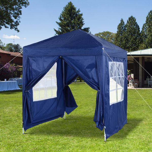 Outsunny Pop Up Gazebo Party Wedding Tent Folding Canopy Shelter assemble for various outdoor occasions Blue | Aosom Canada