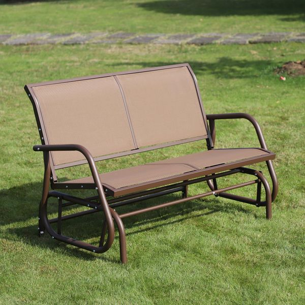 Outsunny Patio Double Glider Outdoor Steel Sling Fabric Bench Swing Chair r Heavy-Duty Porch Rocker Garden Loveseat Brown
