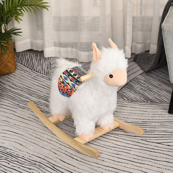 Qaba Kids Ride On Rocking Horse Sheep Style with Handle Grip Saddle Traditional Toy Gift for Children 18-36 Months Rocking Toy for Toddler White | Aosom Canada