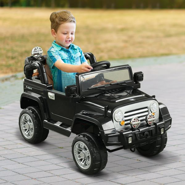 Aosom 12V Kids Electric Ride On Toy Truck Jeep Car with Remote Control 2 Speeds Lights MP3 LCD Indicator Black | Aosom Canada