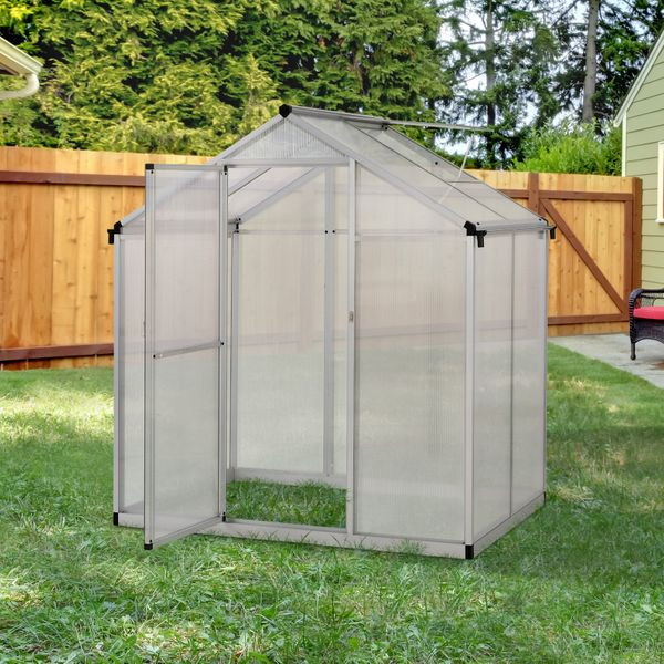 Outsunny 4'x6.2'x6.4' Walk-in Garden Greenhouse Polycarbonate Panels Plants Flower Growth Shed Cold Frame Outdoor Portable Warm House | Aosom Canada