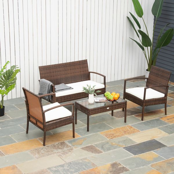 Outsunny 4Pcs Outdoor Rattan Wicker Patio Conversation Set All Weather Cushioned Seat Deck
