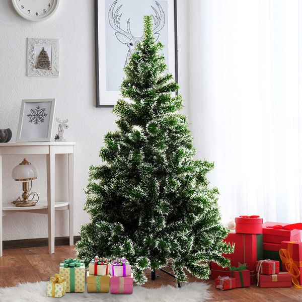 HOMCOM 5FT Indoor Christmas Tree Artificial Decoration Xmas Gift with Metal Stand 416 Tips|AOSOM.CA