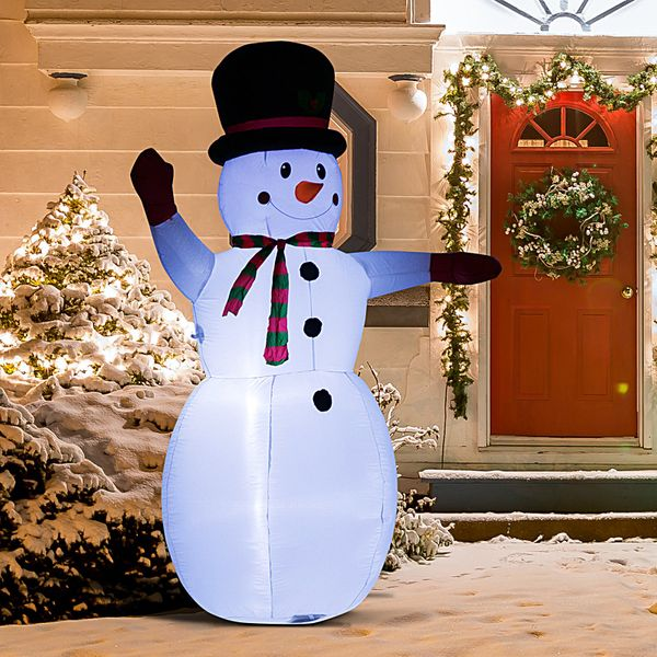 HOMCOM 8 Ft Tall Outdoor Lighted Airblown Inflatable Christmas Lawn Decoration - Waving Snowman|AOSOM.CA