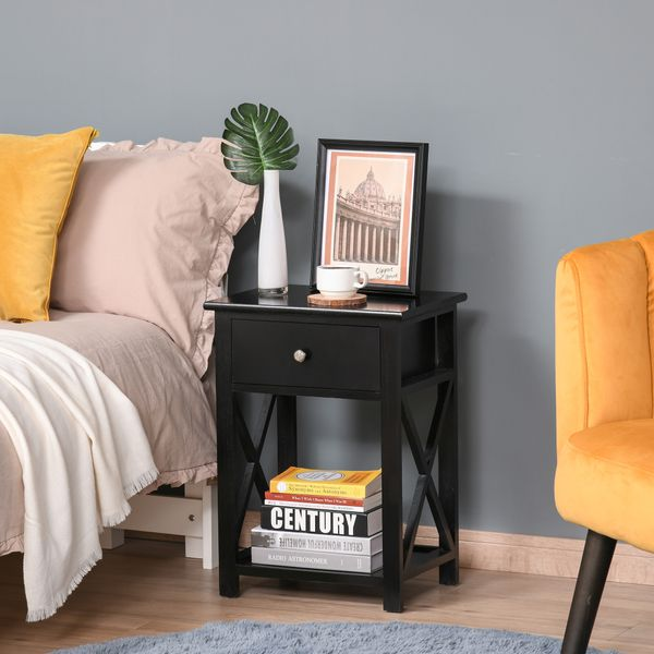 HOMCOM Wooden End Table Bedroom Nightstand Coffee Table Open Cabinet w/ Drawer and Shelf Black Modern Wood Accent with Living Room Furniture   Aosom Canada