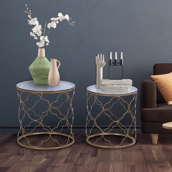 HOMCOM Set of 2 Nesting Table Coffee End Table Set Modern for Living room Furniture Decor Gold Tempered Glass | Aosom Canada