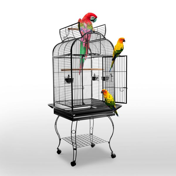 PawHut 63-inch Large Bird Parrot Cage Rolling Cockatiel Finch Macaw Aviary Cage Open Play Top with 2 Perch 3 Stainless Steel Cup Pet Furniture|Aosom Canada