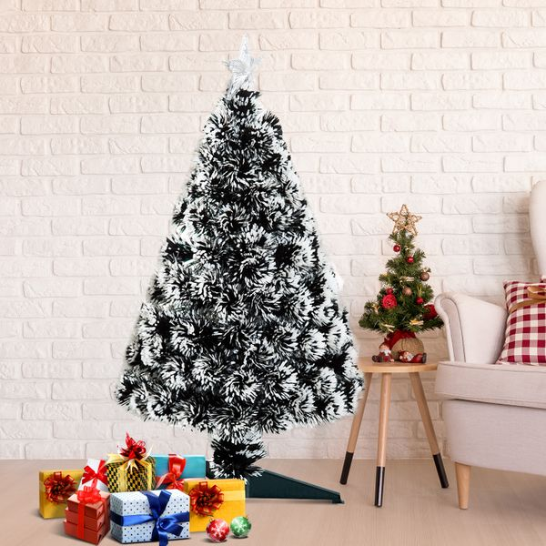 HOMCOM 3ft Xmas Tree Pre-Lit LED Optical Fiber Christmas Tree Artificial Seasonal Decor w/ Stand and Decoration Winter Holiday | Aosom Canada